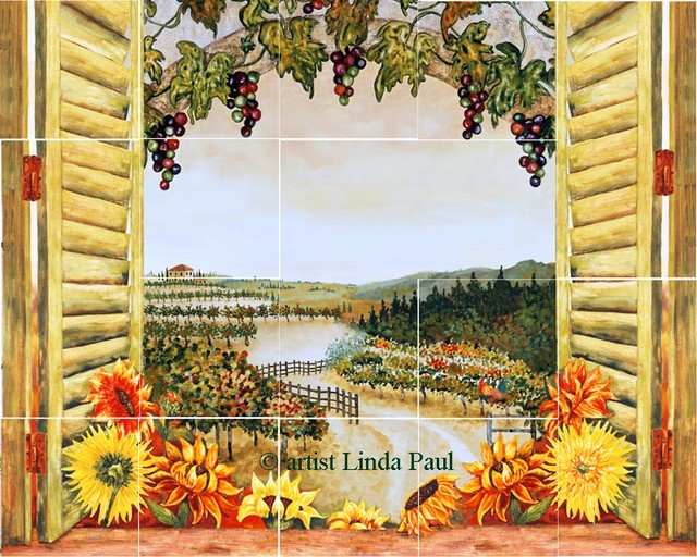 Sunflower in the Vines Kitchen Backsplash Mural - traditional ...