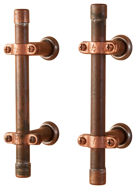 Industrial Copper Cabinet Handle - Industrial - Cabinet And Drawer Handle Pulls - by Nine & Twenty