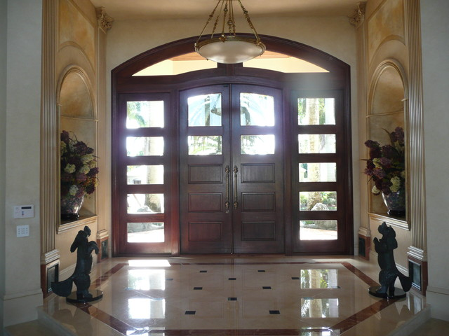Custom Mahogany Entry Doors, Sidelights and Transom Unit traditional front doors
