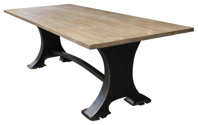Roberto Metal & Wood Dining Table - traditional - dining tables