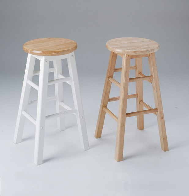 2 Metro Bar Stools In Natural And White Rustic Bar