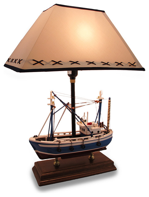 Buoy Table Lamp ... Nautical Wooden Fishing Boat Table Lamp 25 in. traditional-table-lamps