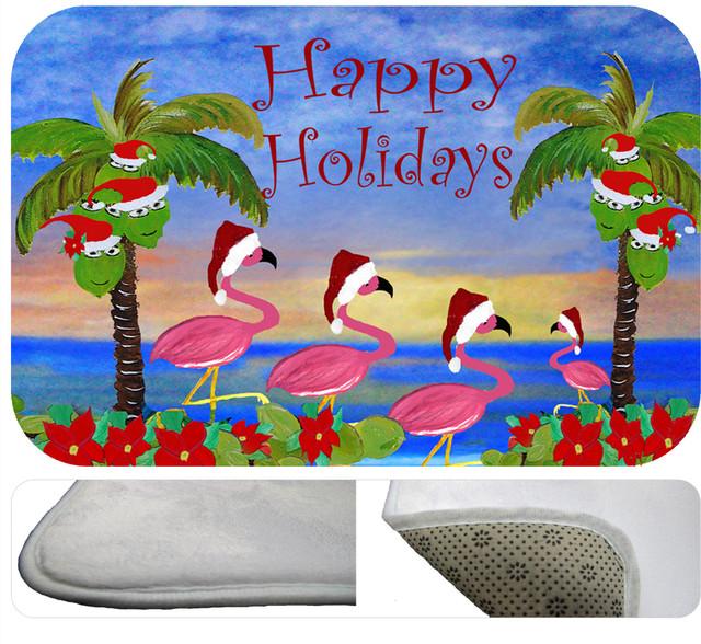 "Flamingos Happy Hollidays Bath Mat 30"" X 20"""