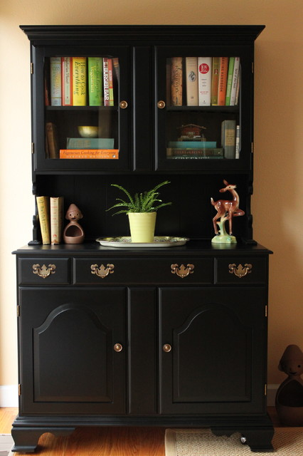 Black painted dining room hutch eclectic san francisco for Painted dining room hutch ideas