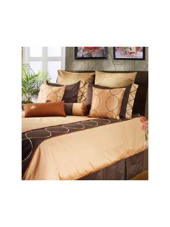 Spring Modern Bedding Set By Rizzy Rugs - Dedicated to fine craftsmanship,the Spring Modern Bedding Set is a prime example of luxurious bedding with a bold pattern scheme. Crafted from soft 100 Percent cotton,it features brown,peach and gold colors in classic circular patterns. Enhance any bedroom in its personality with this linen set.