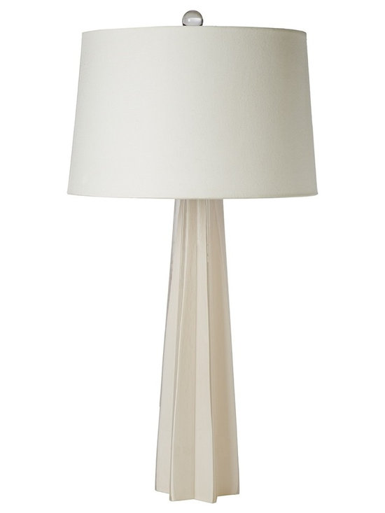 """Regina Andrew - Regina-Andrew White Glass Star Table Lamp - Complete any space with this beautiful white table lamp. The unique star shape adds intriguing visual interest. From Regina-Andrew. White table lamp. Glass construction. Star base design. Maximum 150 watt or equivalent bulb (not included). 3-way switch. Shade measures 14"""" across the top 16"""" across the bottom 10"""" high. 16"""" wide. 31"""" high.   White table lamp.  Glass construction.  Star base design.  Maximum 150 watt or equivalent bulb (not included).  3-way switch.  Shade measures 14"""" across the top 16"""" across the bottom 10"""" high.  16"""" wide.  31"""" high."""