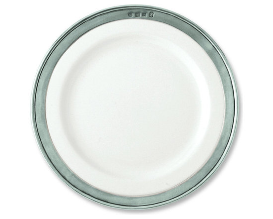 "Match - Match Convivio Salad/Dessert Plate-set of four - This pewter and porcelain salad/dessert plate is the ideal size, suited for small meals like sandwiches, first courses, and desserts. All Match Pewter dinnerware is lead free, food safe, and dishwasher safe at low temperatures. Measures 8.5"" in diameter."