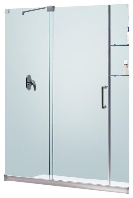Mirage Frameless Sliding Shower Door and SlimLine Single Threshold Shower Base contemporary-shower-stalls-and-kits