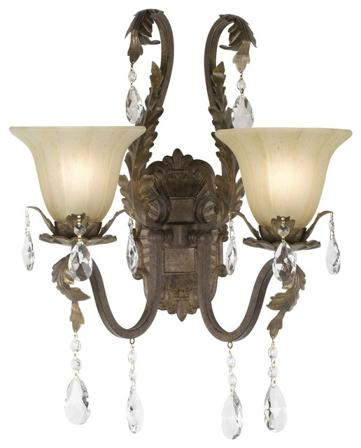 "Country - Cottage Iron Leaf 15 1/2"" Wide Bronze and Crystal Wall Sconce traditional-wall-lighting"