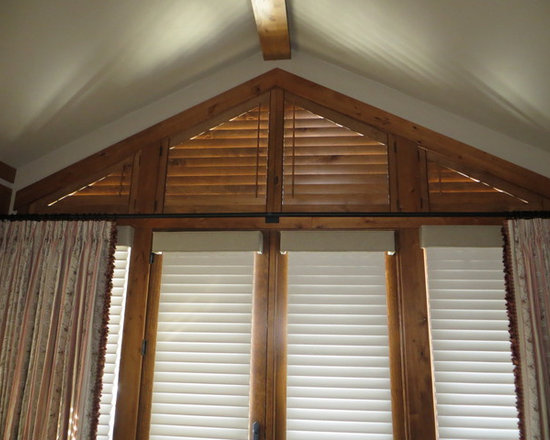 Window Coverings - Custom fabricated angle top shutters . A great solution for those difficult to treat shaped windows !