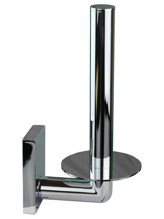Hispania Bath - Hotel Spare Toilet Paper Holder, Chrome - Hotel wall toilet paper roll holder with rectangular back tap. Polished chrome. Drill required.