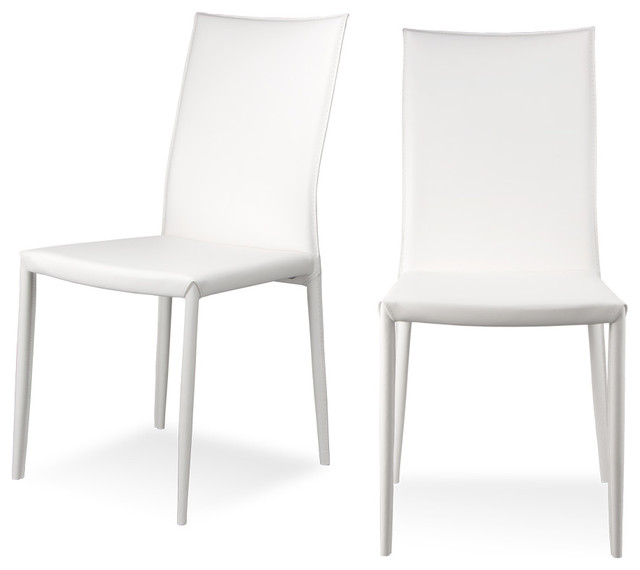 Lucy white dining room chair set modern dining chairs for Modern white dining room chairs