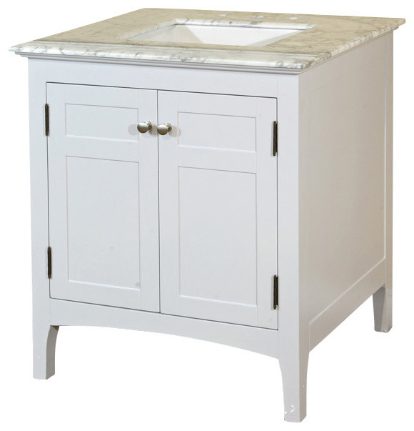 29 Inch Single Sink Vanity Wood White Cabinet Only Transitional Bathroom Vanities And Sink Consoles