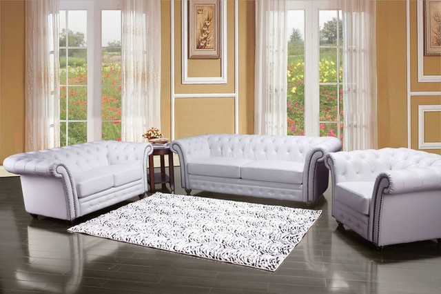 3 Piece Living Room Sofa Set: Camden Bonded Leather 3 Piece Living Room