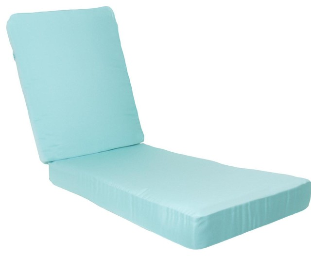 Long Replacement Chaise Lounge Cushion With Knife Edge - Canvas Glacier - Modern - Outdoor ...