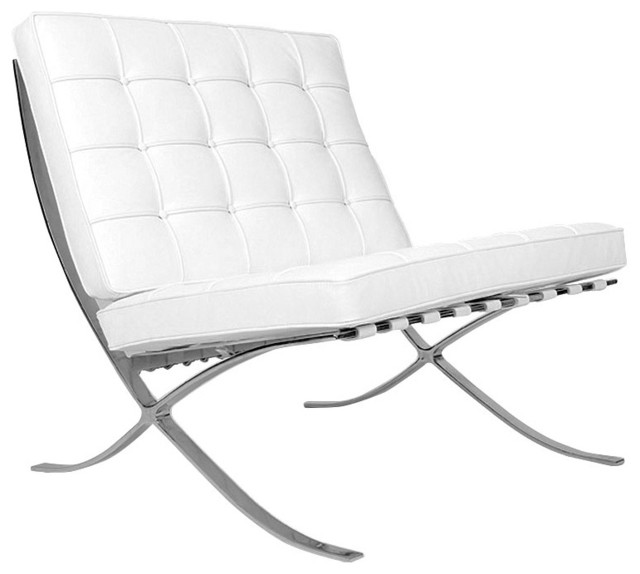 barcelona chair inspired reproduction white modern armchairs and accent chairs by. Black Bedroom Furniture Sets. Home Design Ideas