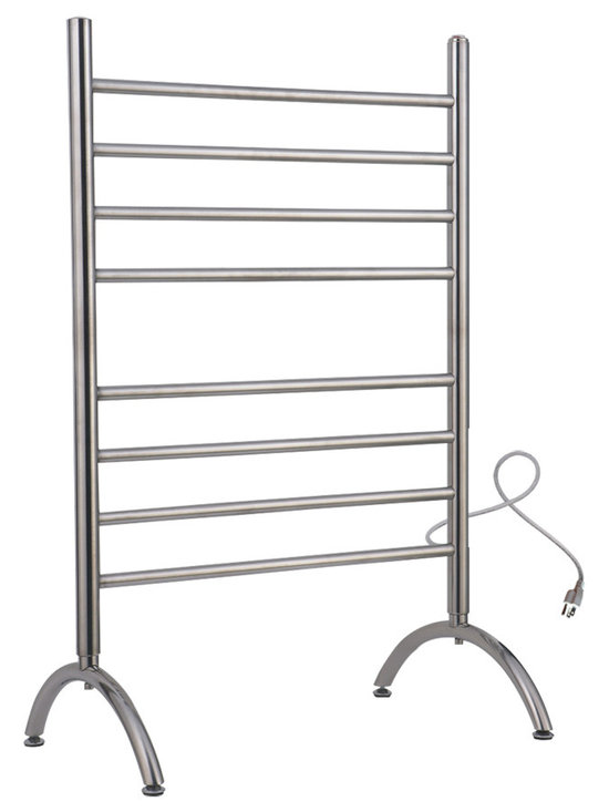 Warmly Yours - WarmlyYours Towel Warmer Barcelona Free Standing 8-Bar Brushed Stainless - The Barcelona Towel Warmer is manufactured with a flawless brushed stainless steel finish to ensure lasting beauty and durability. It has 8 sleek horizontal bars that can easily dry and warm large towels or bathrobes. Designed as a freestanding unit, giving you the flexibility to use it in virtually any room of your home  bathroom, laundry room, or even in a dorm room.