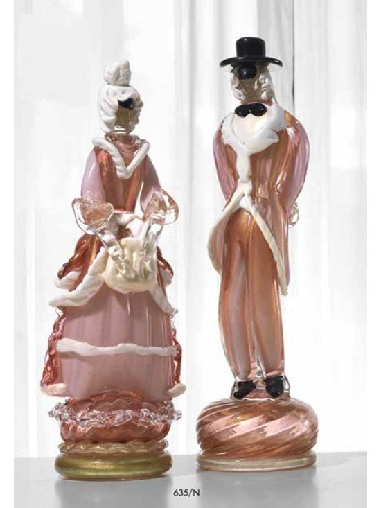 Murano Glass Sculptures and Figurines - Murano Glass columbine figurines COA and made to order.  More available so please contact us