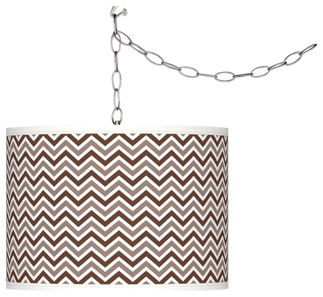 Contemporary Rugged Brown Narrow Zig Zag Giclee Glow Plug-In Swag contemporary-chandeliers