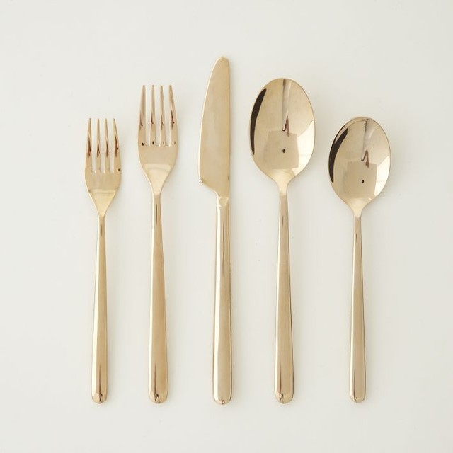rose gold flatware set of 5 modern flatware and silverware sets by west elm. Black Bedroom Furniture Sets. Home Design Ideas