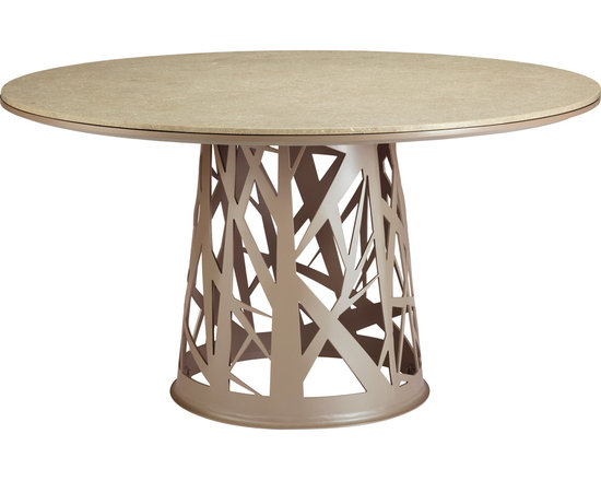Outdoor Chaparral Table: 515FS - Reimagined for the outdoors, the Outdoor Chaparral Table adds drama and style to an environment.  A sturdy, conical powder-coated aluminum pedestal base is enhanced by a unique cut out detailing inspired by the random manner in which rattan shoots wind their way through the trees in the jungle. A smooth circle of stone is firmly planted atop this abstract base; the substance of the top provides an interesting counterpoint to the airy openness of its support.