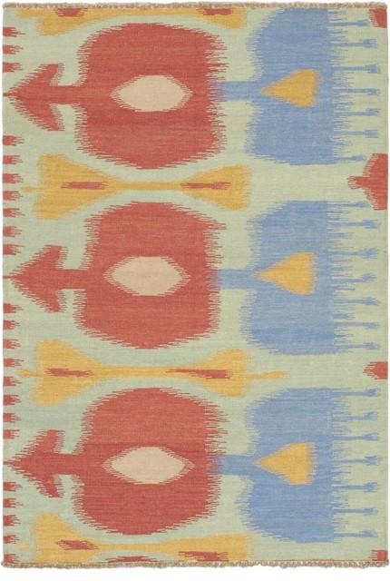 "Flat-weave Ankara Kilim Light Green Wool Kilim 4'8"" x 6'9"" eclectic-rugs"