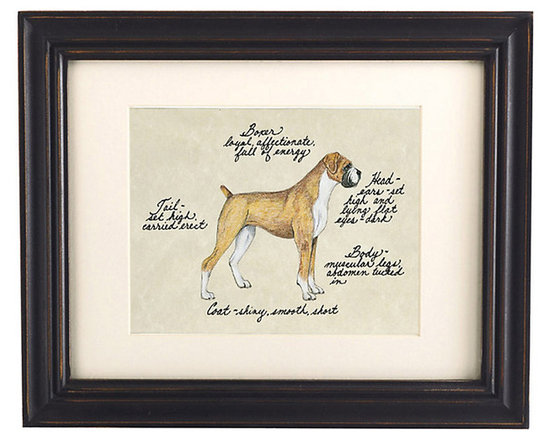 Ballard Designs - Boxer Tan/White Dog Print - Our Tan & White Boxer Dog Print was created by the dog-devoted, husband and wife team of Vivienne and Sponge. The Boxer is known for being loyal, affectionate and full of energy. Each portrait is signed by the artists, hand colored and embellished with notes on the breed's special characteristics.Tan & White Boxer Dog Print features:Printed on antiqued parchment. Eggshell mat. Black wood frame. Glass front