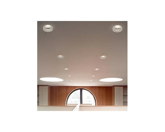 Iside Ceiling Lamp By Leucos Lighting - Leucos recessed fixtures Iside is a small-scale, semi-recessed fixture providing downward light through an acid-etched, poured glass diffuser available in a wide range of colors.