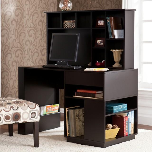 Adami Black Desk With Hutch Set Contemporary Desks And Hutches By Overstockcom