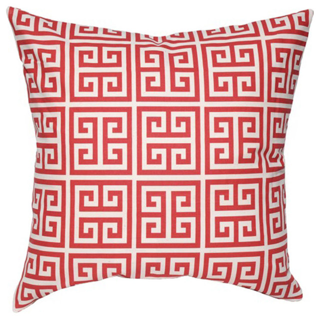 Elisabeth Michael Greek Key Red Throw Pillow contemporary-decorative-pillows
