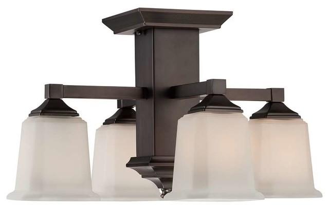Bathroom Vanity Lights Ceiling Mount : Quoizel Lighting QF1213SHO Semi-Flush Mount Ceiling Light In Harbor Bronze - Transitional ...