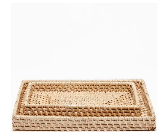 Denton Tray Set (Set of 2) - Nab beachfront style with or without an ocean view. Naturally dyed, tightly woven rattan adds a wonderfully organic element, but the distinction's in the details: beautifully stitched corners, striking patterns, and a round wastebasket featuring a lovely reverse-tapered base.
