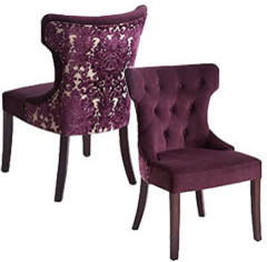 purple damask dining chair eclectic dining chairs