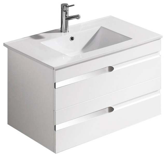 VIGO 32-inch Ethereal-Petit Single Bathroom Vanity with Mirror, White Gloss, Wit - Modern ...