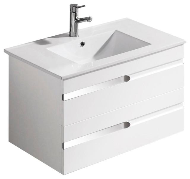 Vigo 32 Inch Ethereal Petit Single Bathroom Vanity With Mirror White Gloss Wit Modern