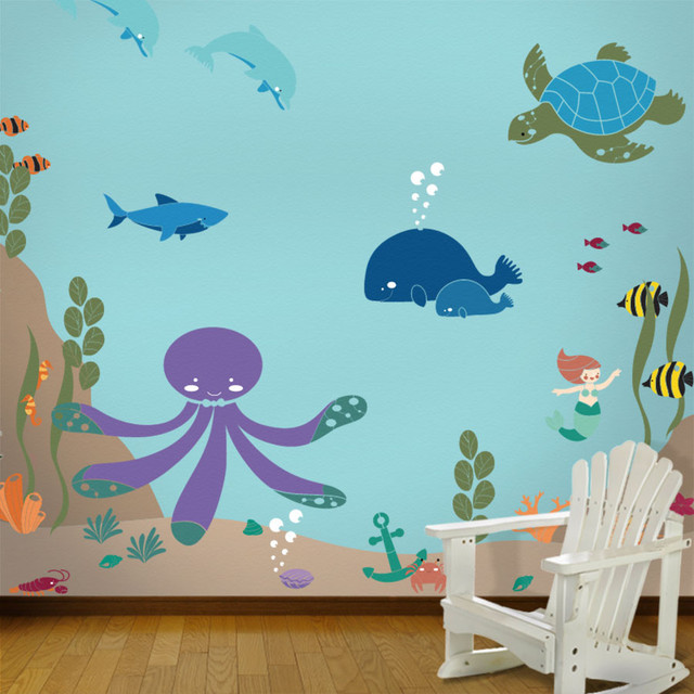 Wall Designs For Toddler Rooms : Under the sea theme ocean wall mural stencil kit for