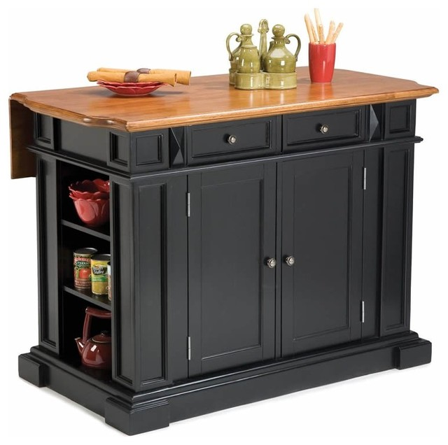 home styles kitchen island with breakfast bar in black