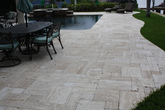 Travertine pavers french pattern patara veincut tumbled travertine