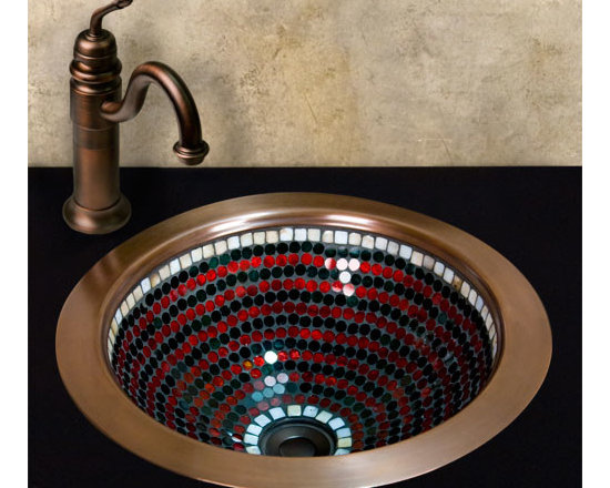 Color! - Featuring colorful glass mosaic pieces, this copper sink will make a beautiful focal point for your lavatory. Can be used as a drop-in or undermount sink.
