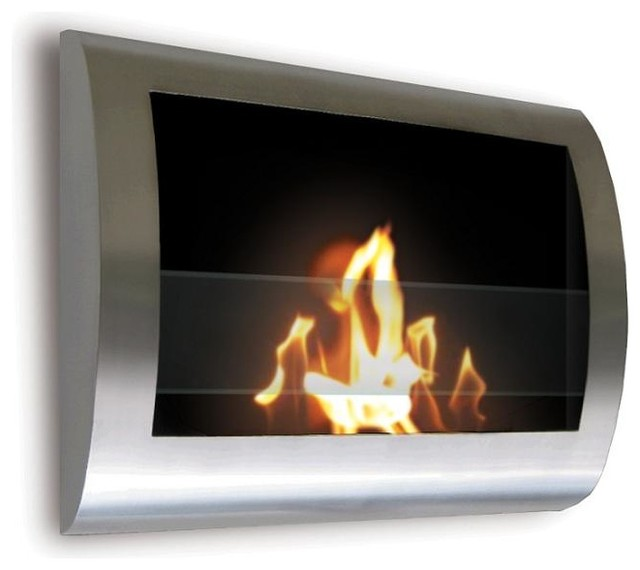 Chelsea Wall Mounted Bio Ethanol Fireplace Chrome Contemporary Indoor Fireplaces By Home