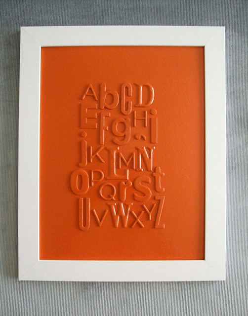 Orange Typography Collage, Alphabet by Fuzzy Hippo Design modern-artwork
