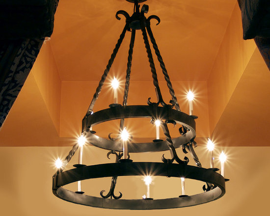 Iron Chandeliers in Mediterranean Style - Iron Chandeliers. Forged, twisted, fabricated. Faux rust paint.