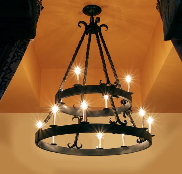 Iron Chandeliers in Mediterranean Style mediterranean-lighting