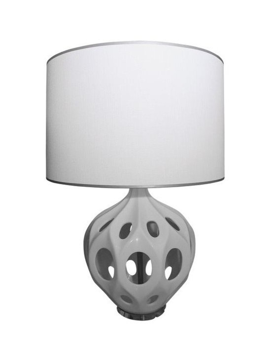 WHITE TRUFFAULT LAMP BY KENNETH WINGARD - From the Upper West Side home of a Manhattan design influencer, this White Truffault Lamp by Kenneth Wingard has us swooning over its 50's French New Wave-inspired design. In excellent condition, the hand cast ceramic lamp floats atop a Lucite base.