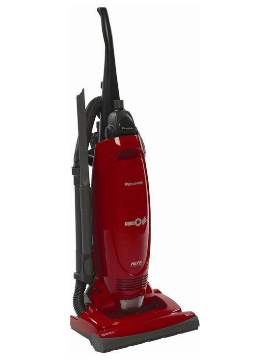 Panasonic - Panasonic MC-UG471 Bag Upright Vacuum Cleaner with Air Turbine, Pepper Red - Panasonic's MC-UG471 12 Amp Upright Vacuum with Cord Reel features a 15 inch cleaning path and on-Board tools- The unit automatically adjusts to the proper setting for just about any carpet height, while its HEPA filtration system captures dust, allergens, and small particles, so only clean air gets expelled into the home- The vacuum's motor-Protection system channels dust and dirt particles directly into the vacuum bag, promoting long life and more efficient cleaning for the fan and motor