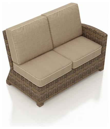 Cypress Outdoor Wicker Right Arm Sectional, Spectrum Mushroom Cushions contemporary-outdoor-sofas