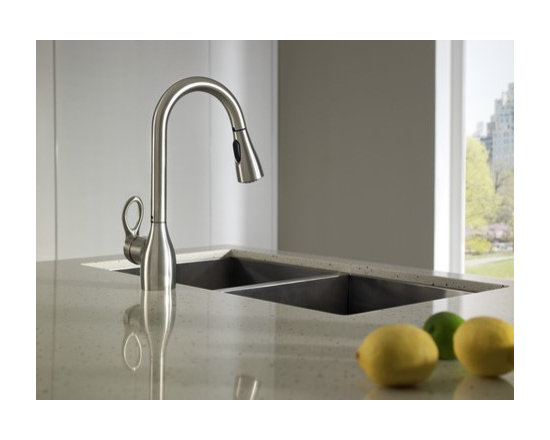 Moen Kleo Spot resist stainless one-handle high arc pulldown kitchen faucet - Product Features