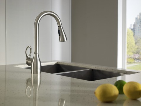 Moen Kleo Spot resist stainless one-handle high arc pulldown kitchen faucet kitchen-faucets