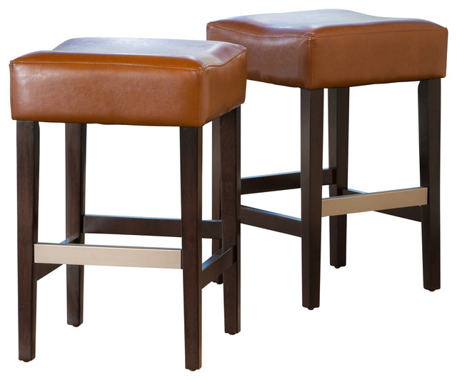 Barto Leather Backless Stools Set of 2 Hazelnut Counter  : contemporary bar stools and counter stools from www.houzz.com size 640 x 532 jpeg 57kB