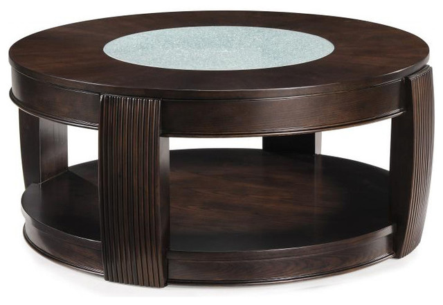 39 Ino 39 Wood And Glass Round Cocktail Table Contemporary Coffee Tables By